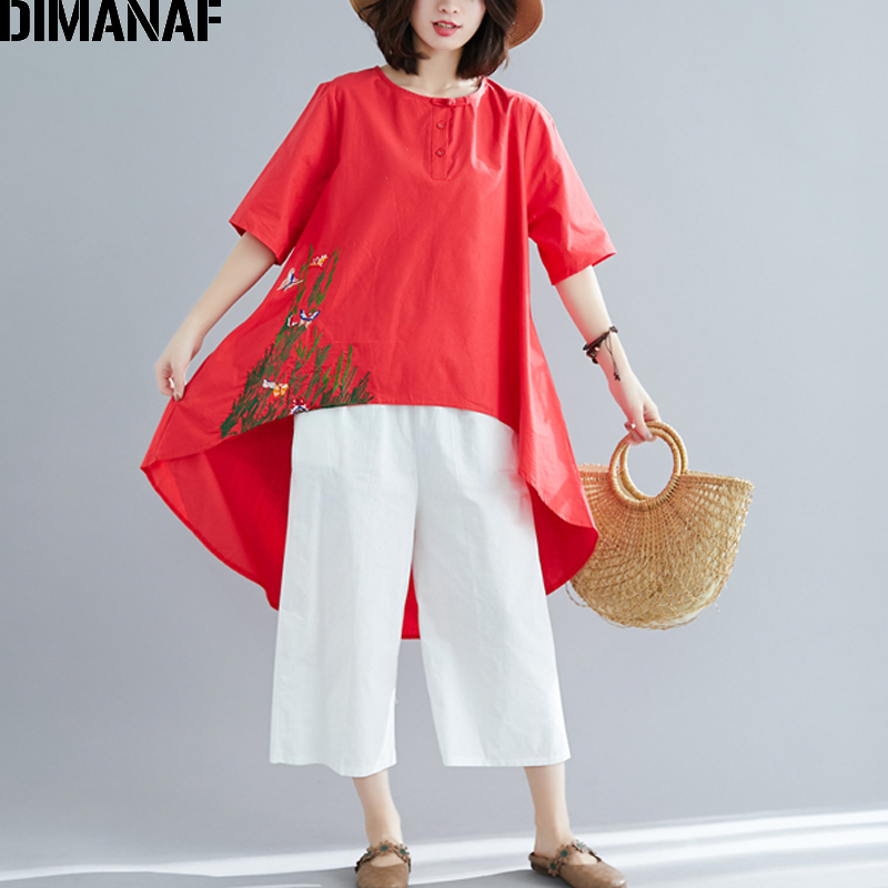 DIMANAF Plus Size Women   Blouse     Shirts   Summer Big Size Lady Tops Tunic Cotton Loose Casual Female Clothes Vintage Embroidery 2019