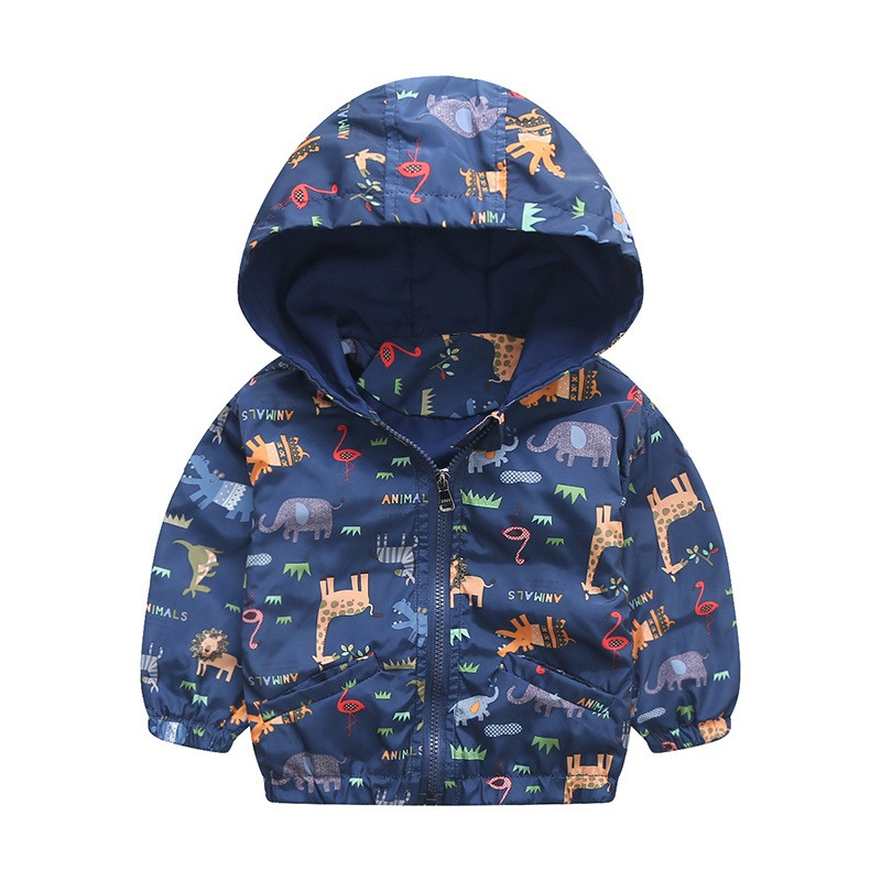 Fashion Baby Boys Jacket Active Hooded Coats Boys Kids Children Clothing Animal Printing Outerwear Jacket Windbreaker одежда на маленьких мальчиков