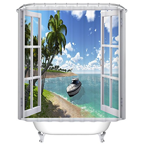 Open Window with Sea View Mildew Resistant Polyester Fabric Shower Curtain Set Fantastic Decorations Bath Curtain