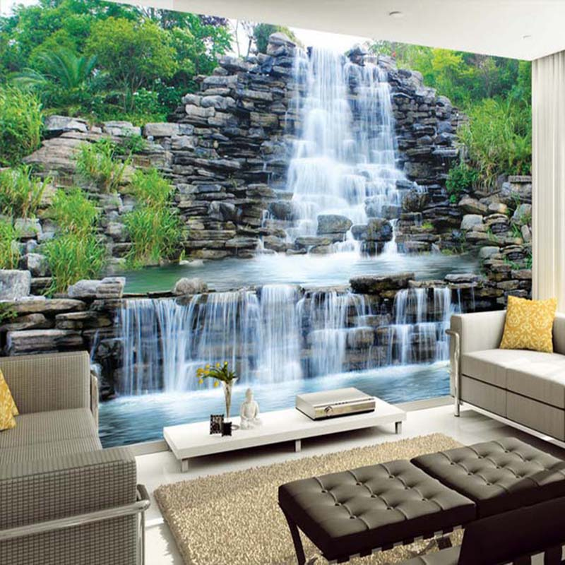 Custom 3D Photo Wallpaper Waterfalls Rockery Nature Landscape Mural Wall Cloth Living Room TV Sofa Background Wall Covering 3 D