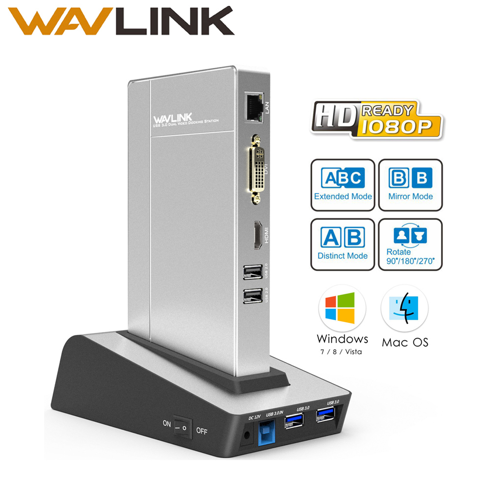 Wavlink usb 3.0 Universal Docking Station dual video HDD&SSD Enclosure Base support dvi/hdmi/vga to external graphics ethernet orico dhu3b bk usb3 0 to dvi hdmi external graphics for 6 computer screen extention black