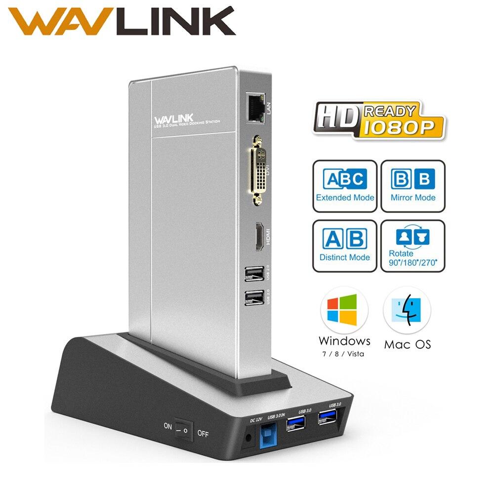 Wavlink usb 3.0 Universal Docking Station dual video HDD&SSD Enclosure Base support dvi/hdmi/vga to external graphics ethernet hdd docking station