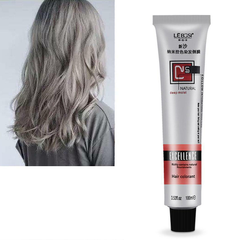 Fashion Hair Cream Unisex Smoky Gray Punk Style Light Grey Silver Permanent Hair Dye Color Cream Girls Beauty Hair Colors MDF11