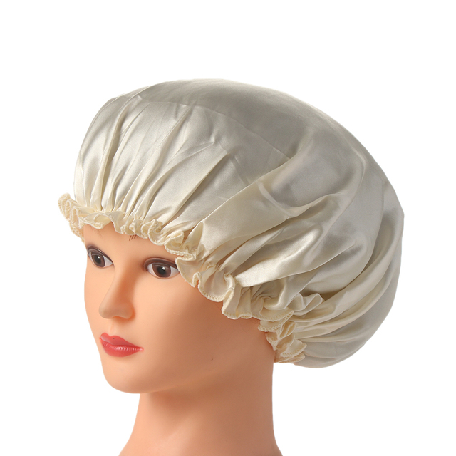2017 New Women Beauty Salon Cap Night Sleep Head Cover Satin Bonnet Hat For Curly