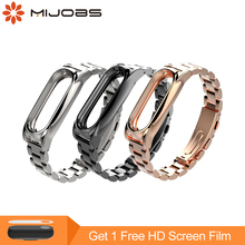 Mijobs Mi Band 2 náramek na zápěstí pro Xiaomi Mi Band 2 náramek z nerezové oceli Miband 2 náramky Pulseira Miband2 Strap