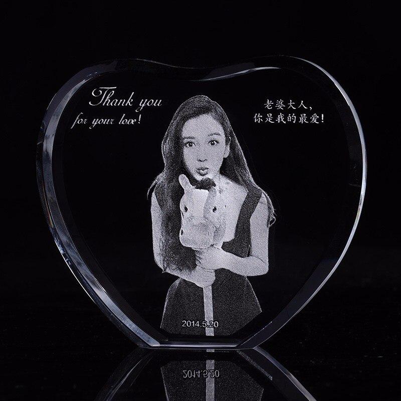 Benutzerdefinierte Herz Kristall Skulptur Bilderrahmen Mit Ihrem Bild Gravierte Foto Album Familie Hochzeit Haustiere Souvenirs