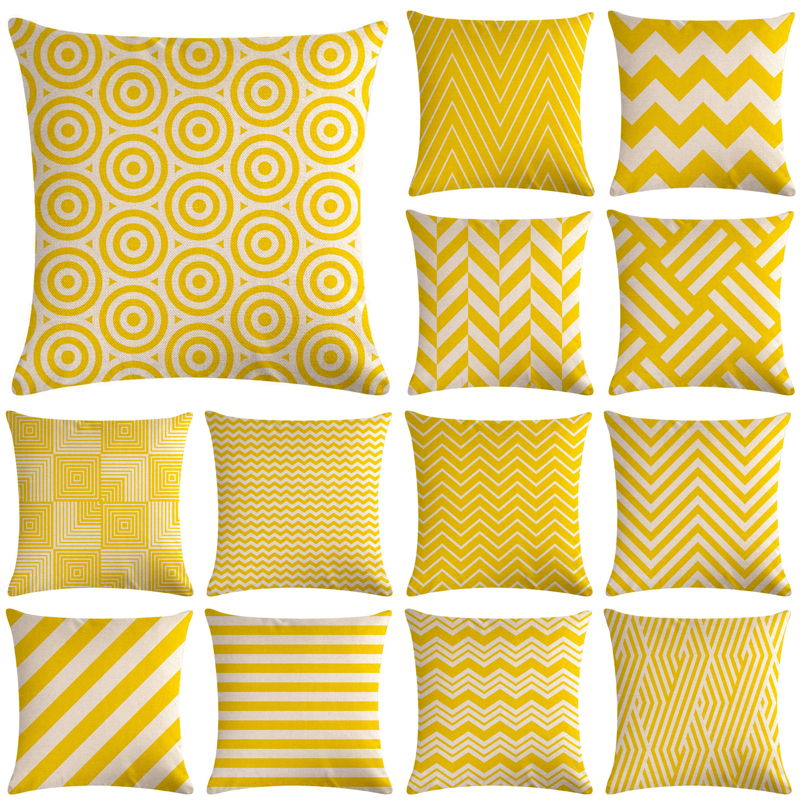 Yellow Geometric Sofa Decorative Cushion Cover Pillow Pillowcase Cotton Linen 45*45 Throw Pillow Home Decor Pillowcover 40609