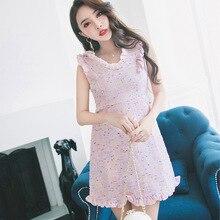 2017 neue winter kleid damen schlanke nude rosa Rüschen kragen V taille  kleinen duftenden ärmelloses kleid b4a386abcc