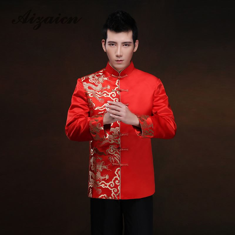 Red Long Sleeve Groom Toast Clothing Chinese Dress Dragon Men Satin Cheongsam Top Costume Tang Suit