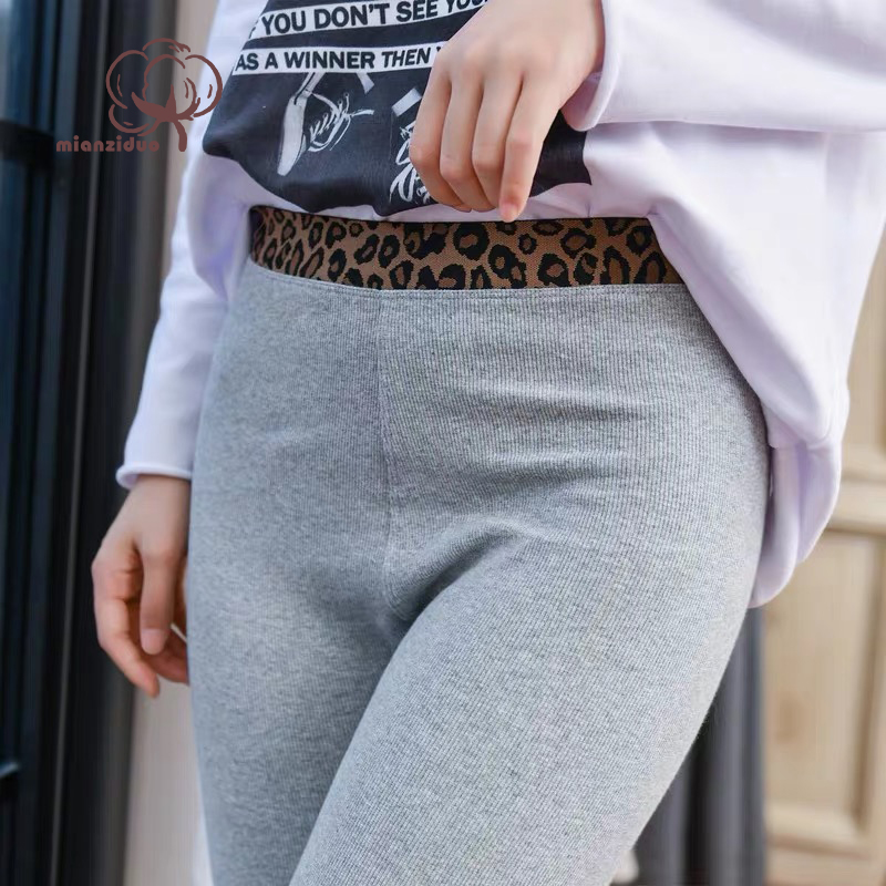 2019 New Fashion Women's Spring Summer High Elasticity Good Quality Slim Fitness Capris Leopard  Leggings Cotton Pants