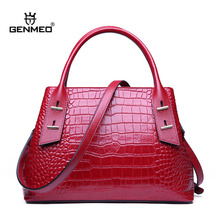 GENMEO Famous Designer Alligator Genuine Leather Shoulder Bag Cow Leather Handbag with Shoulder Strap Tote Bag Feminina Bolsa недорого