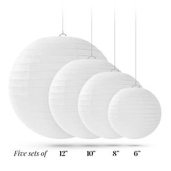 "20 pcs 6""-12"" White Paper Lanterns Chinese Japanese Paper Lanterns for Wedding Party Halloween Hanging Diy Decor Favor 1"