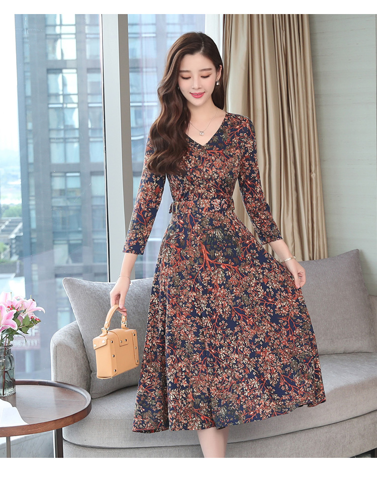 Autumn Winter New 3XL Plus Size Vintage Midi Dresses 2018 Women Elegant Bodycon Floral Dress Party Long Sleeve Runway Vestidos 37