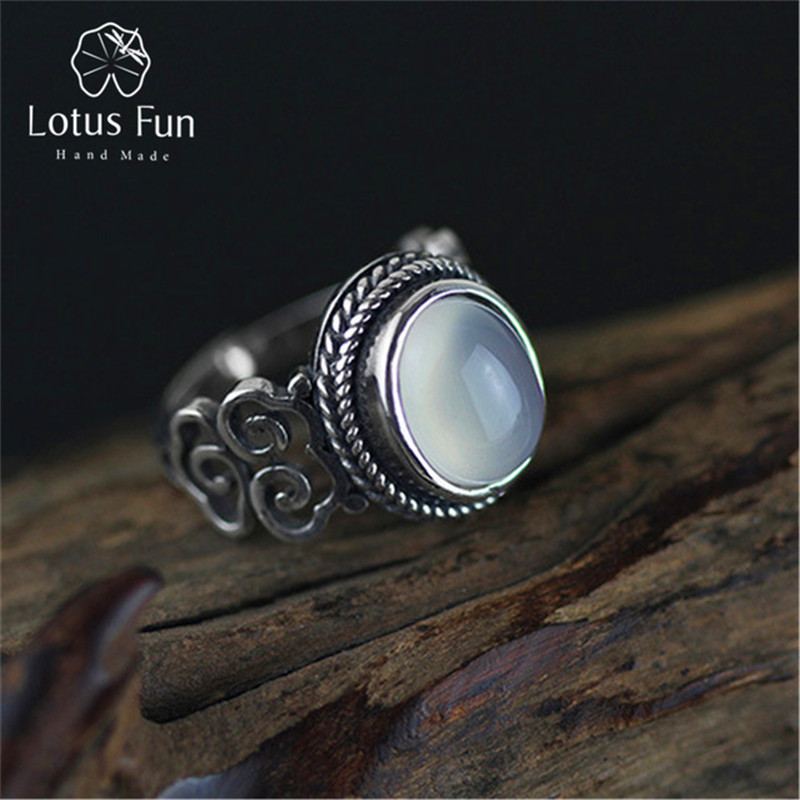 Lotus Fun Real 925 Sterling Silver Natural Chalcedony Stone Handmade Creative Designer Fine Jewelry Vintage Female Rings Bijoux