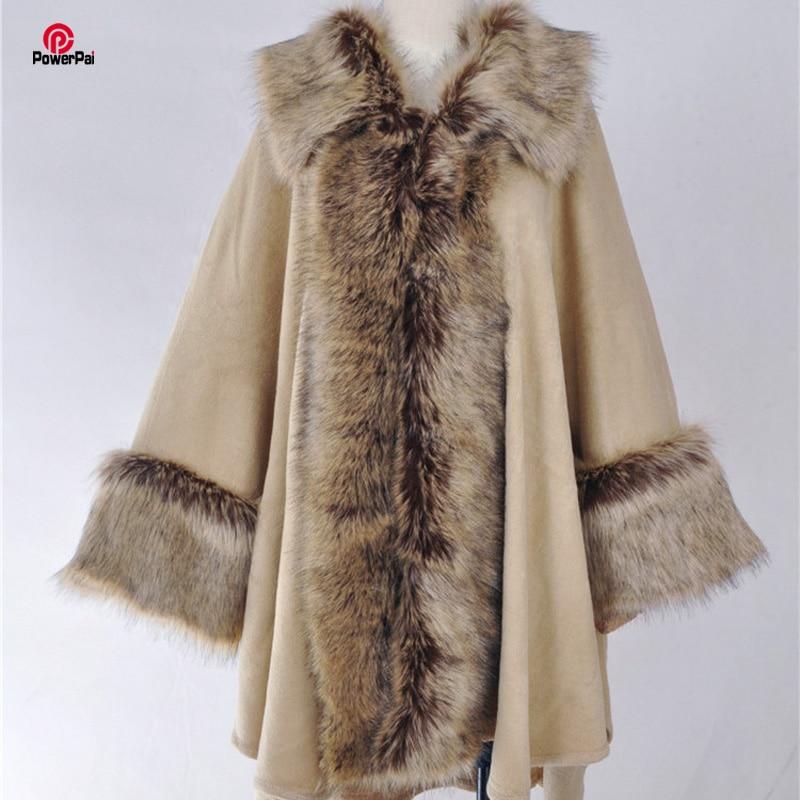 Winter Fashion Elegant Luxury Faux Fur Coat Cape Long Big Lapel Cashmere Shawl Cloak Women Fur