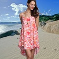 2017 fashion floral print women spaghetti strap casual dress asymmetrical design flowers girl's beach loose dress