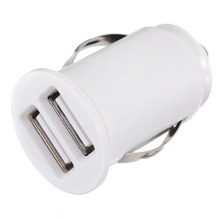12V 2.1A Universal White Dual 2 Devices USB Car Charger Power Adapter Mobile Phone Mini High Quality