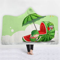 Cartoon Hooded Blanket Thick Warm Wearable Blanket Autumn Winter For Sofa Bed Throw Towel for Adults Kids Cobija Cobertor