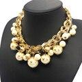 Moda chunky chian pérola acrílica choker declaração colar de jóias para as mulheres acessórios/collares perlas/collier perles/joias