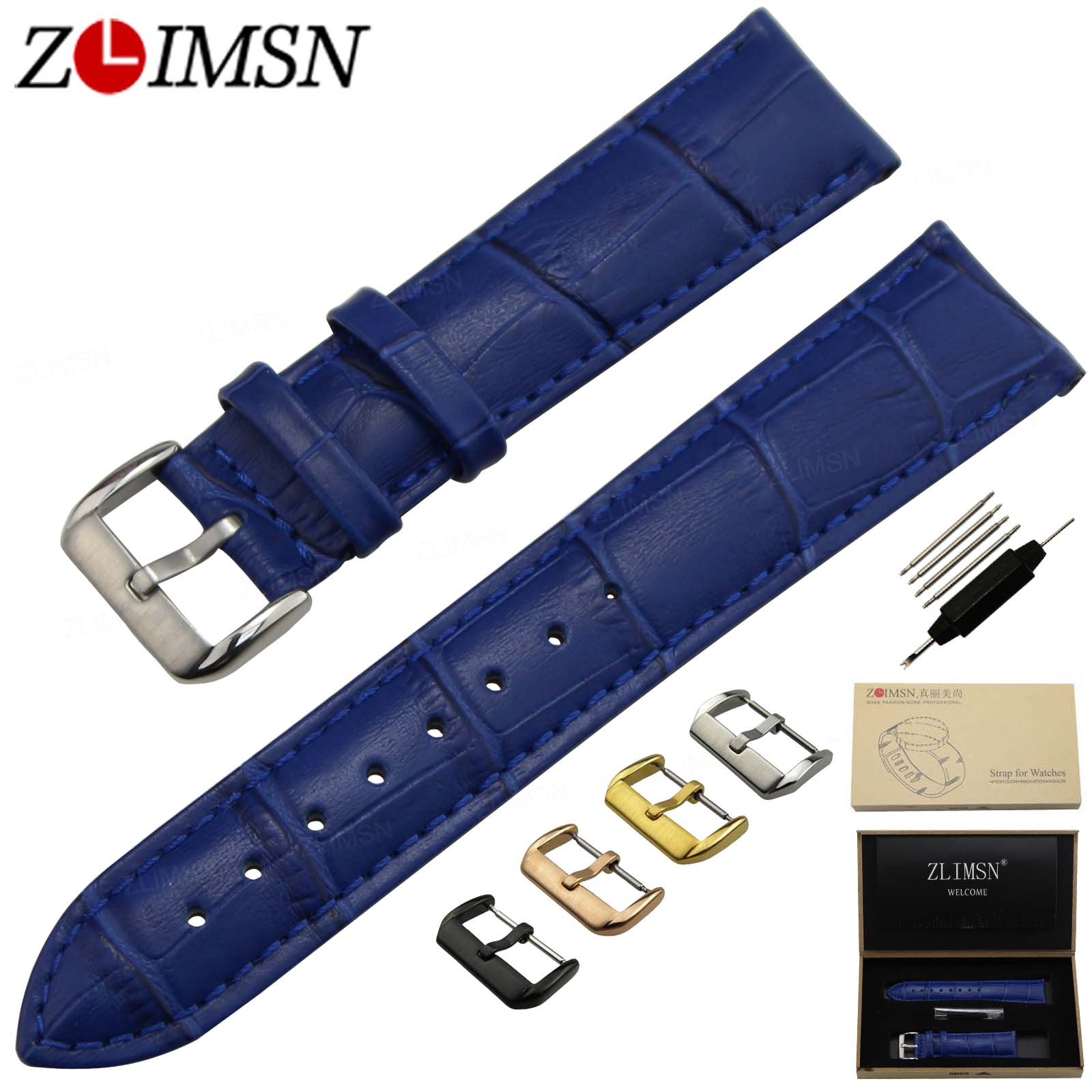 ZLIMSN Genuine Leather Watch Band Stainless Steel Pin Buckle Blue Crocodile Grain Strap 12 14 16 18 20mm Relogio Masculino 2017 new fashion replace watch band 22mm 24mm mens womens dark blue 100% genuine crocodile grain leather watch strap band bracelets