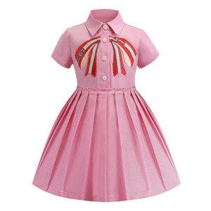 Новинка лета 2019, розовое платье для девочек с вышитыми буквами, нарядная элегантная одежда принцессы для девочек, изысканная верхняя одежда