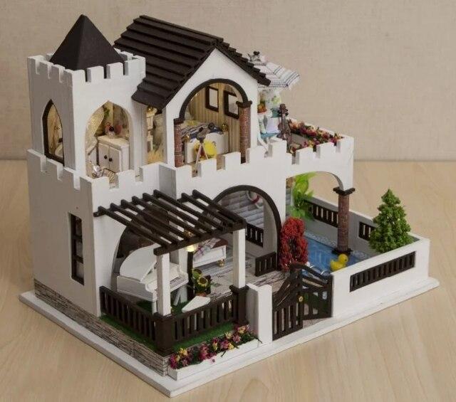 mediterranean castle large diy wood doll house 3d miniature dust covermusic boxlights