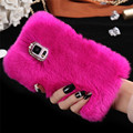 New 100% Real Rabbit Fur Case For Samsung Galaxy Note 4 N9100 Cute Cartoon Hair Bling Diamong Cover Plush Furry Hard Back Girly