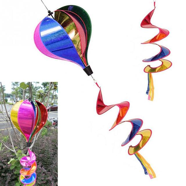 Hot Air Balloon Wind Spinner Rainbow Sequins Windsock Striped