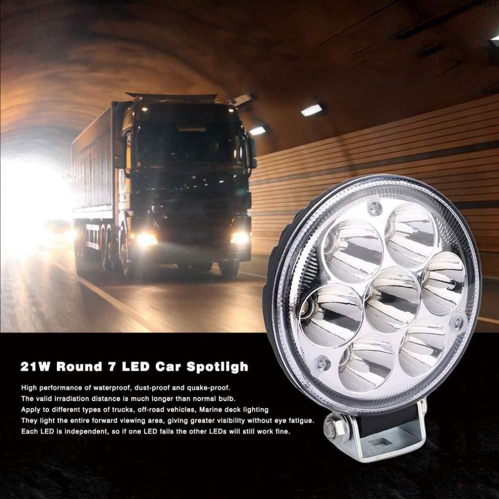 21W Round 7 LED 6500K Car Light Driving Lamp Motorcycle Fog Light 30/60 Degrees Spotlight FloodLight Work Light