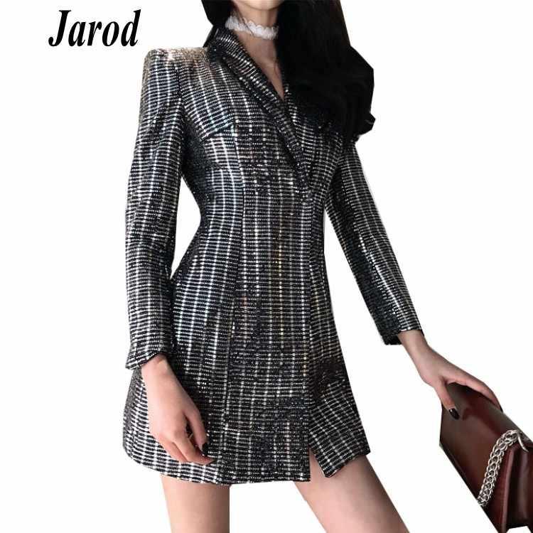 Women Blazer 2018 Autumn Lapel Long Sleeve Sliver Coat Casual Sequins  Outwear Jacket Elegant Slim Blazers 9afdcdb9c201