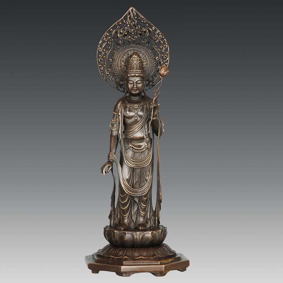 Bouddha en bronze statue Lotus Saint Guanyin déesse de la miséricorde Bouddhiste temple décoration Chinois Bouddha sculpture
