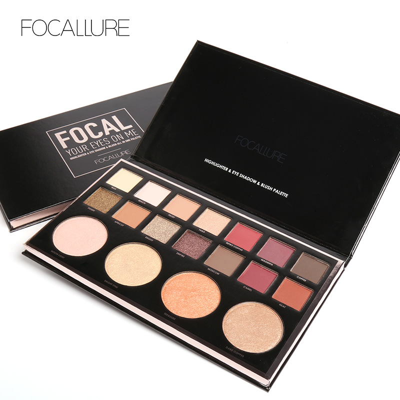 FOCALLURE 18 Colors Eyeshadow Palette Brighten Powder Glamorous Smokey Eye Shadow Shimmer Makeup Kit