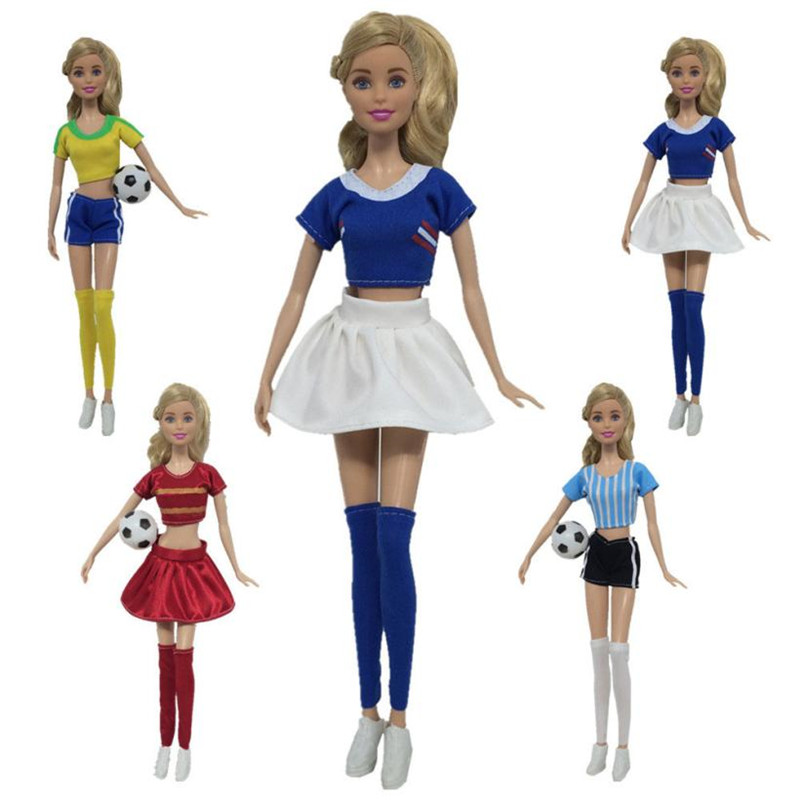 Football Cheerleading Dress Up Handmade Clothes For Barbie Doll Accessory Girl Fashion Clothing For American Girl Dolls MM6 one piece multi styles handmade for barbie dress fashion mini doll dress for barbie dolls party slim dress clothing accessories