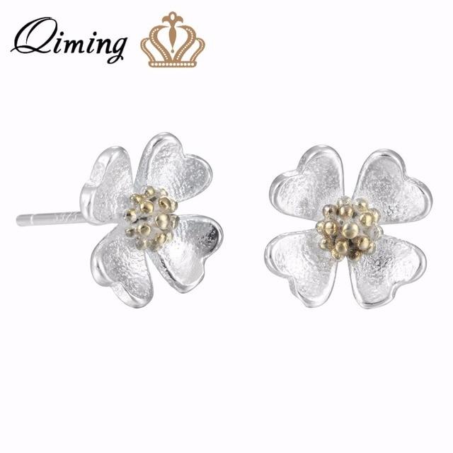 Qiming Elegant Stud Flower Wedding Earrings Women Jewelry Beautiful Pure Real Silver Vintage S