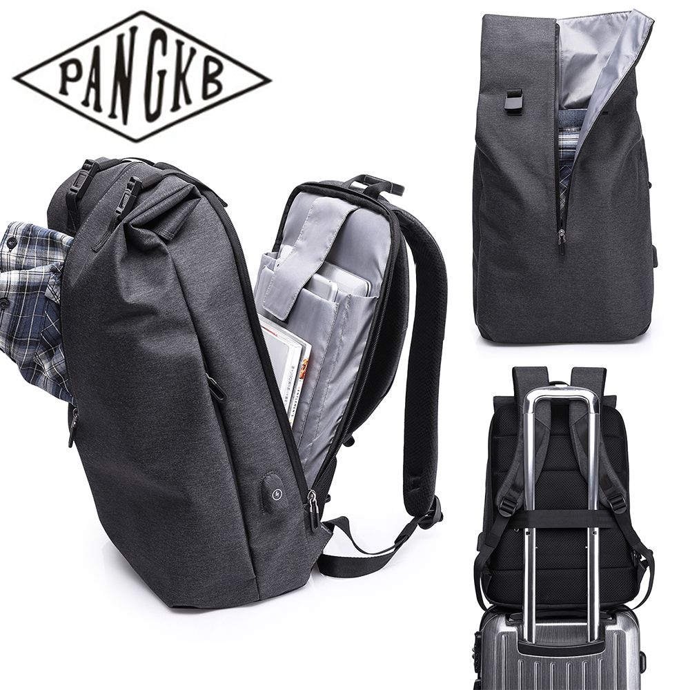 PANGKB Fashion Black Casual USB Charging port Backpack