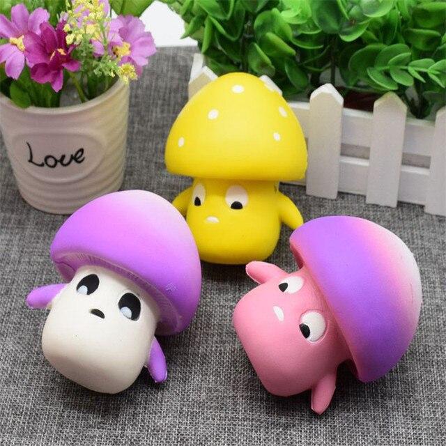 cute mushroom soft pu funny toy practical jokes office squishy