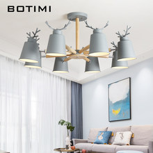 BOTIMI Nordic LED Chandelier Lighting With Metal Lampshade For Living Room Gray Lustre White Bedroom Lustres Green HangLights(China)