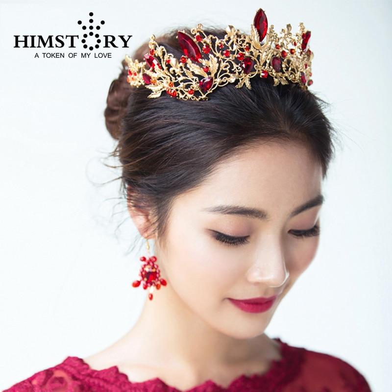 HIMSTORY Luxury Princess Queen Crown European Baroque Large Hair - Κοσμήματα μόδας