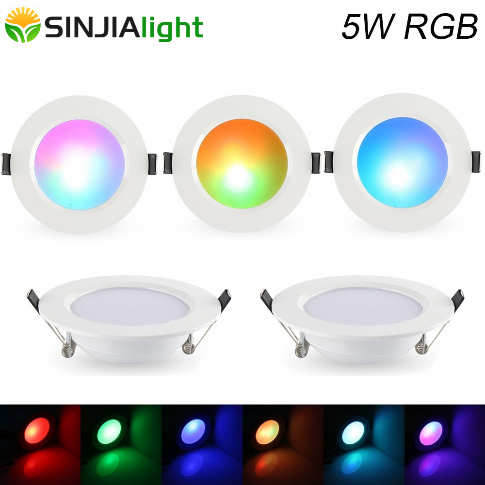 20pcs lot 5W RGB LED Panel Light Round Ceiling Lamp With Remote Controller Party Stage Lighting