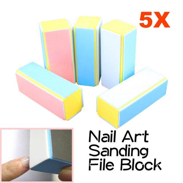 5 Pcs/Lot Sanding Nail File Buffer Block Nail Art Tools Manicure ...