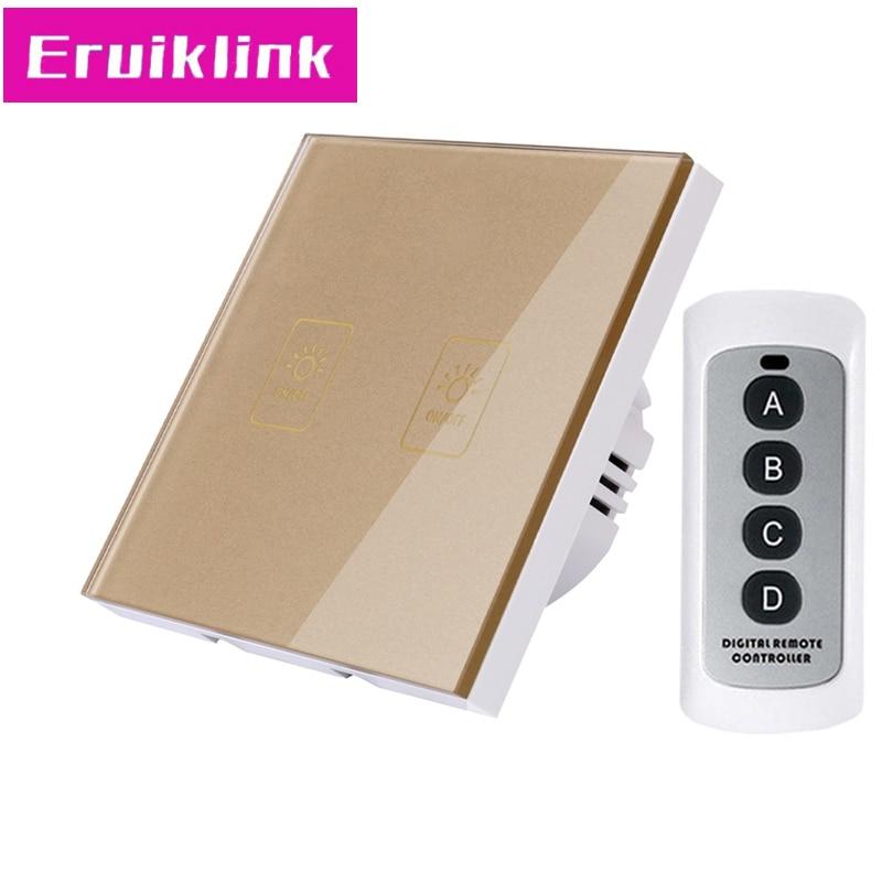 Купить с кэшбэком EU/UK Standard 2 Gang 1 Way RF433 Remote Control Wall Switch,Crystal Glass Touch Light Switch 220V for Smart Home