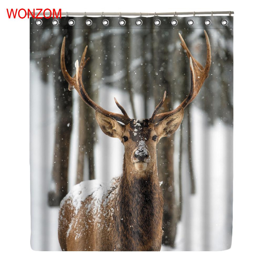 Best Buy WONZOM Elkr Shower Curtains For Bathroom Decor Modern Animal Deer Bath Waterproof Curtain With 12 Hooks New Accessories Online Cheap