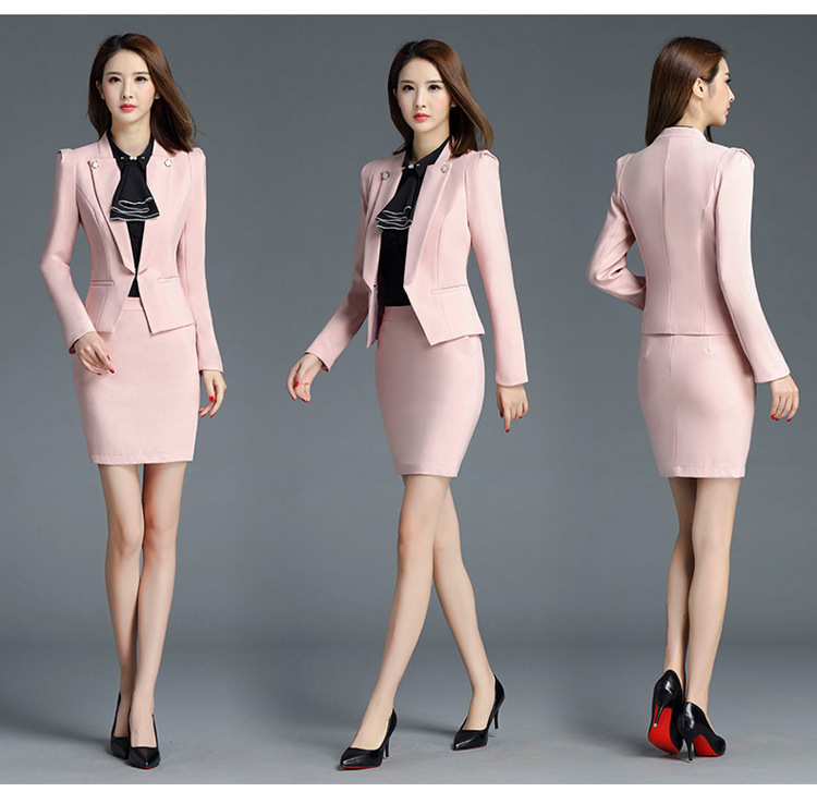6a6177d7648 PYJTRL Brand Two Piece Set Pink Office Uniform Designs Women Elegant  Fashion Skirt Formal Suits Ladies Business Outfits Suit -in Skirt Suits  from Women s ...