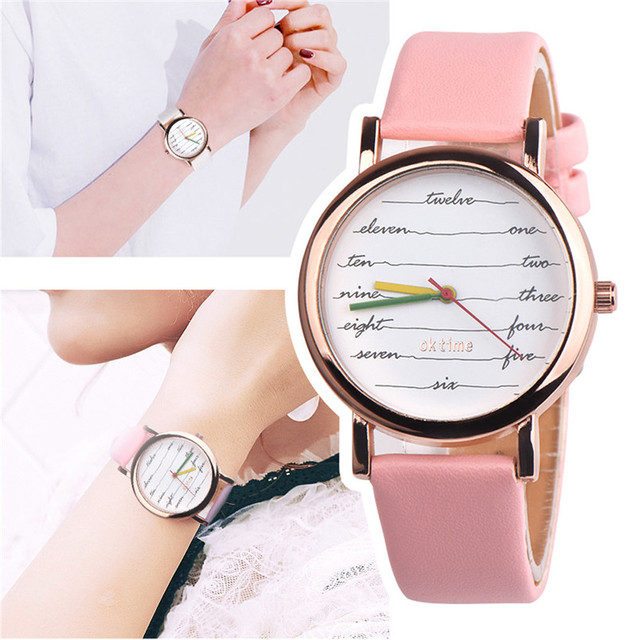 Fancy Womens Quartz Wristwatches Womens Girls Leather Band Analog Alloy Quartz W