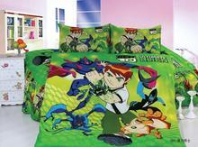 Carácter Ben10 verde ropa de cama de impresión edredón/fundas de edredón de cama set niños kid boy colchas tamaño cama individual twin 3 Unids