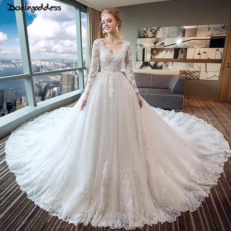 46b0a9fe31c Luxury Lace Appliques Arabic Wedding Dresses Dubai Open Back Vintage Long  Sleeve Muslim Wedding Dress Plus