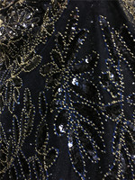 Darkblue sequins and beads french lace fabric African sewing tulle lace classic and unique design high quality