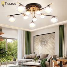 TRAZOS Nordic LED Ceiling Lights For Dining Room Wooden Hanging Lamp With Metal Lampshade Modern Triple Lamps