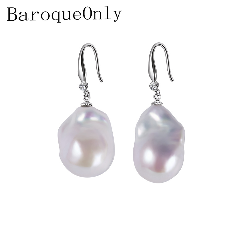 BaroqueOnly 925 sterling silver jewelry 15-23mm Big size 100% real freshwater pearl earrings for women Top quality gift box E