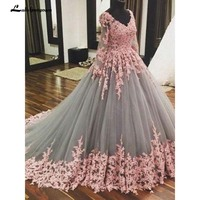 Ball Gown Grey tulle with Pink Lace Appliqued Long Sleeves Quinceanera Dresses Sweet 16 Dresses Cheap Quinceanera Gowns